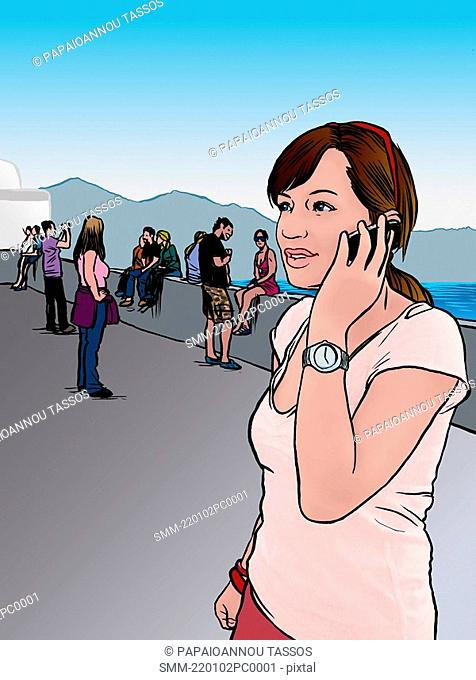 Young woman hanging out on cell phone