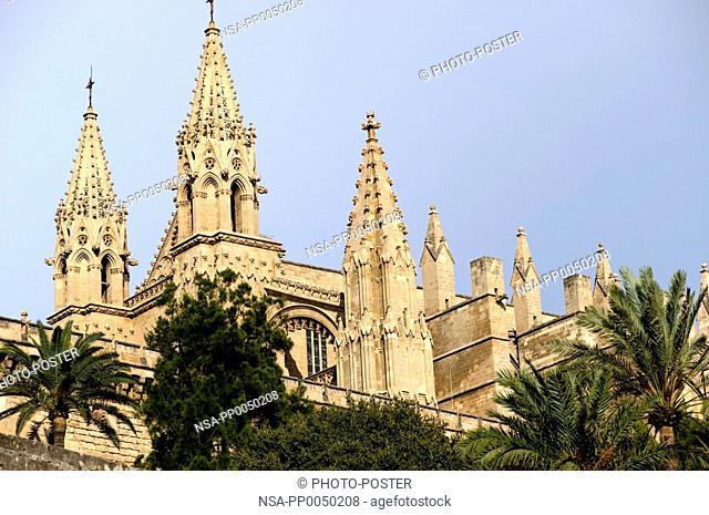 Cathedral La Seu Palma de Majorca on Majorca in Spain