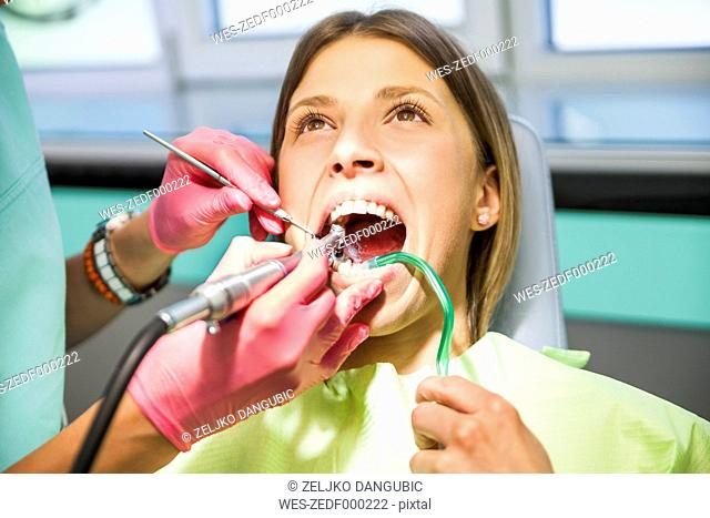 Patieint receiving treatment at the dentist