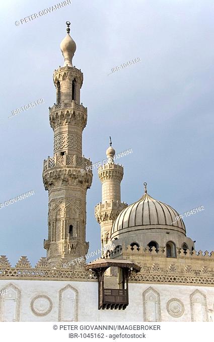 Minaret of the Al Azhar Mosque, Cairo, Egypt, Africa