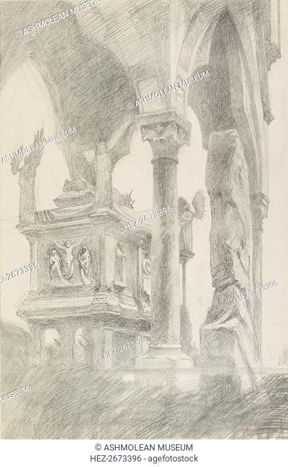 Study of the Tomb of Mastino II della Scala at Verona, c1869. Artist: John Ruskin