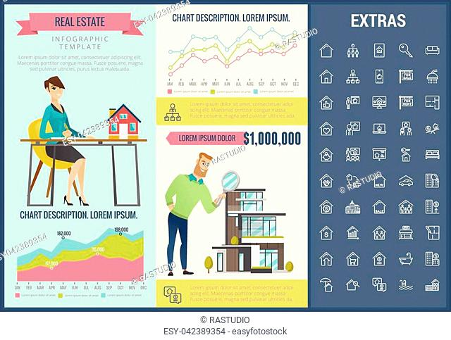 Real estate infographic template, elements and icons. Infograph includes customizable graphs, charts, line icon set with real estate agent