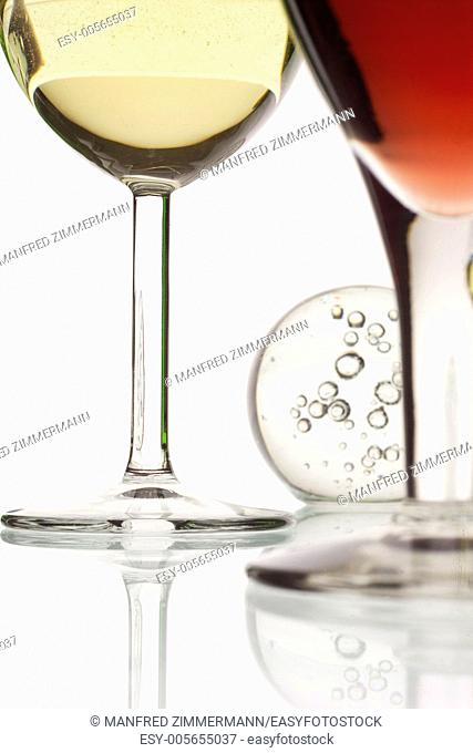 Detail of a glass of red wine and a glass of white wine