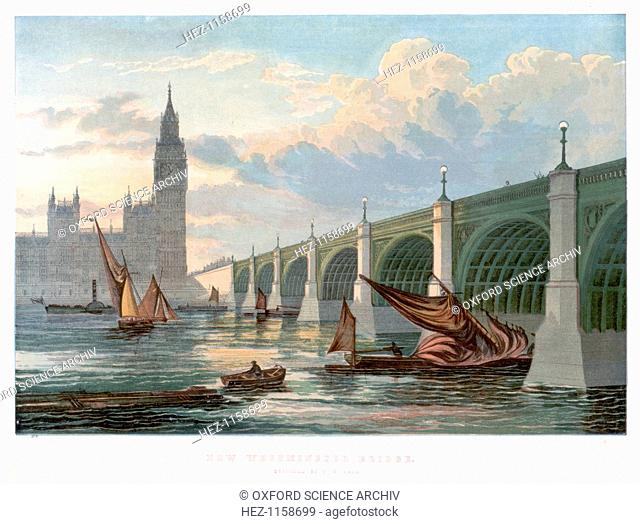Westminster Bridge, London, looking from the south bank of the Thames, 1858. This is the bridge rebuilt by Thomas Page (1803-1877) beginning in 1853