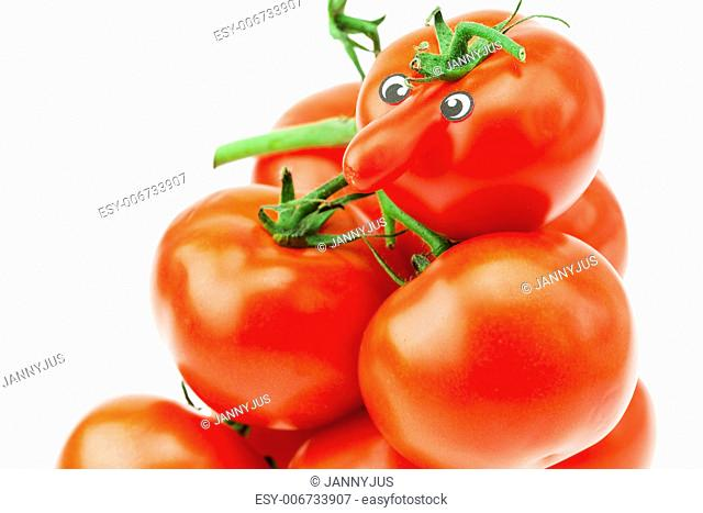 tomato with a nose and a bunch of tomato isolated on white