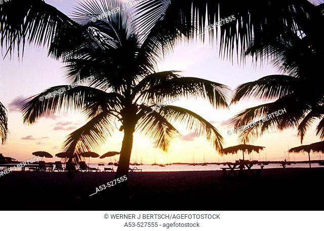 Sunset at Simpson Bay. Sint Maarten. Netherlands Antilles