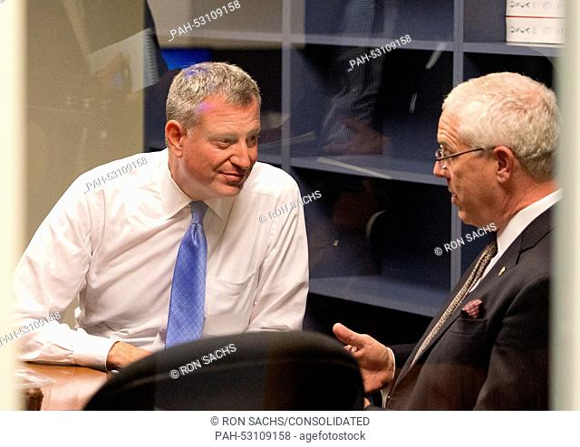 Mayor Bill de Blasio of New York City, left, and NYPD Deputy Commissioner of Intelligence & Counter-terrorism John Miller, right