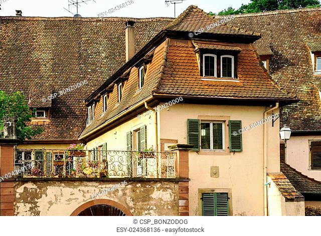 Old alsacien village street view