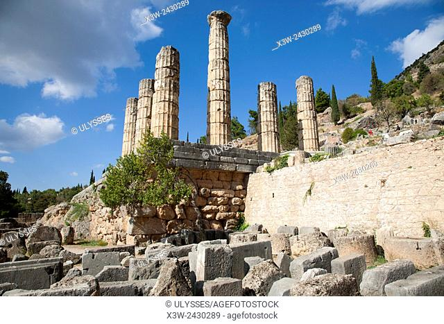 Temple of Apollo, Sanctuary of Apollo, Delphi archaeological site, Sterea Hellas, Greece, Europe