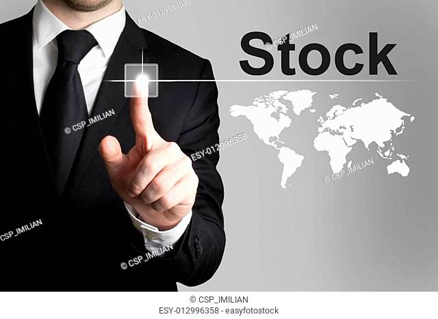 businessman pushing button stock market international