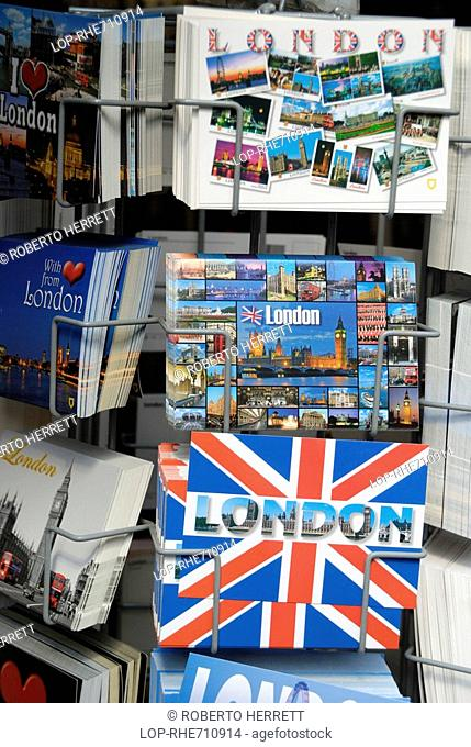 England, London, Westminster, London postcards for sale in a stand outside a souvenir shop