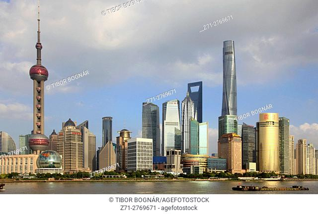 China, Shanghai, Pudong, skyline, Huangpu River,