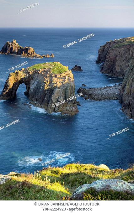 Early morning over the rocky coastline near Lands End, Cornwall, England
