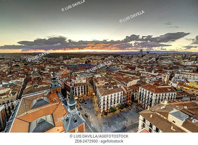 Plaza Mayor or Main Square in Madrid center. Spain