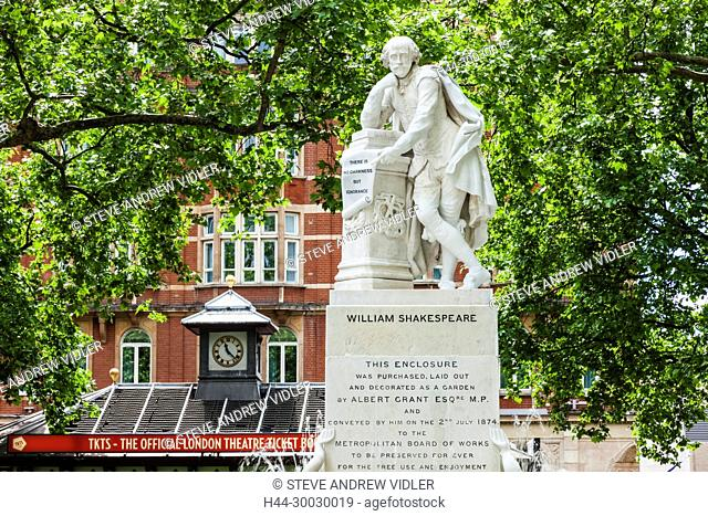 England, London, Leicester Square, Shakespeare Statue