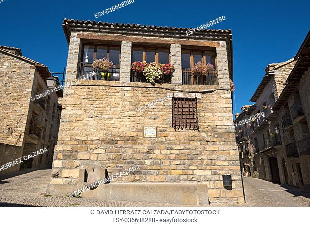 Stone houses in medieval village of Ainsa, Pyrenees, Spain