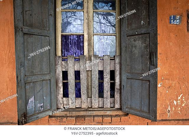 Window of an old house at Fianarantsoa upper town ( Madagascar)
