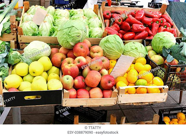 Market crates full with fresh organic fruits and vegetables