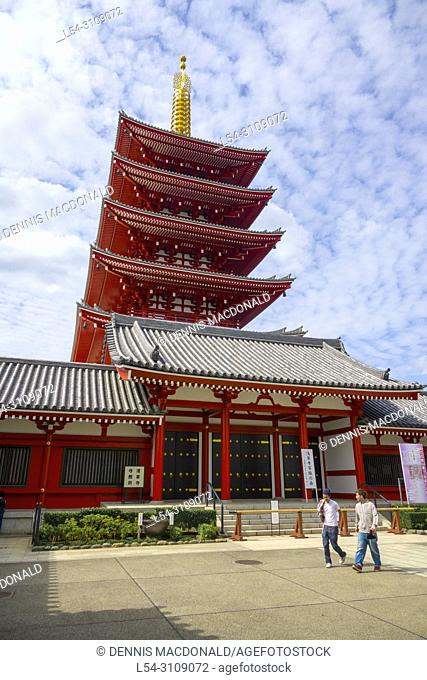 Buddhist Temple Asakusa Tokyo Japan Asia Red Pagoda