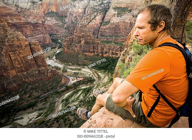 Male hiker looking at view on the Lakeside Trail, Zion National Park, Utah, USA