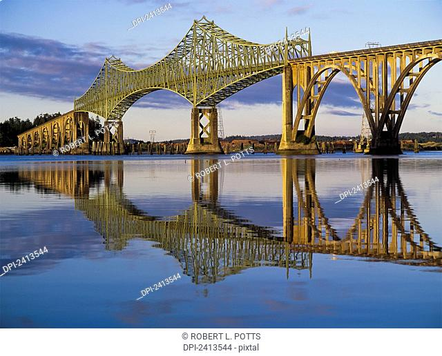 McCollough Memorial Bridge crosses Coos Bay; North Bend, Oregon, United States of America