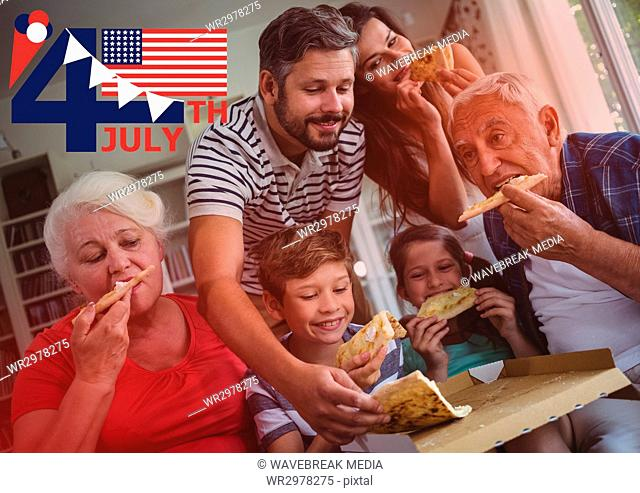 Fourth of July graphic with flags and ice cream against family eating pizza with red overlay