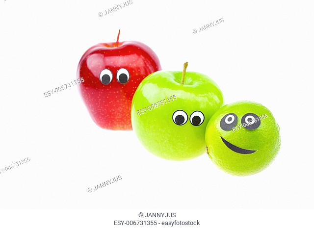 apples with faces joy isolated on white