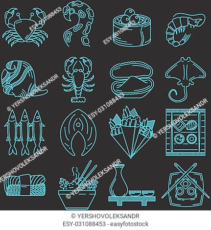 Set of blue line vector icons for seafood menu on black background