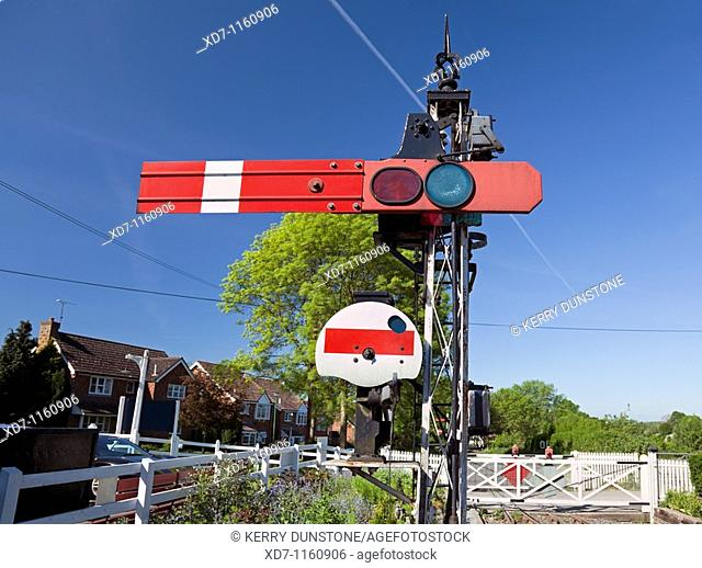 England Kent Tenterden Station on the Kent & East Sussex Railway with Semaphore Signal