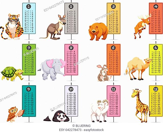 Wild animals and time tables template illustration