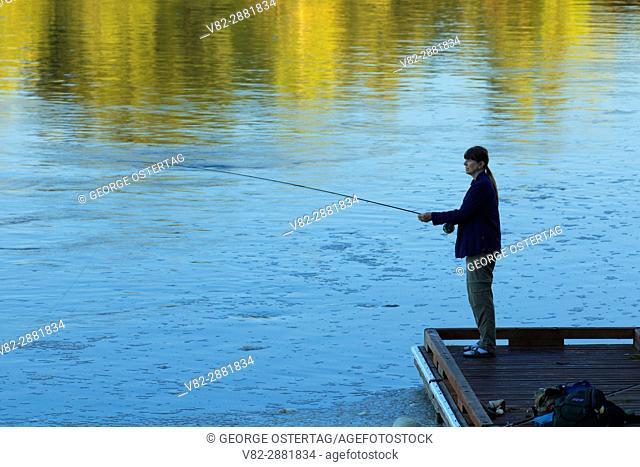 Flyfishing from boat dock on Willamette River, Willamette Mission State Park, Oregon
