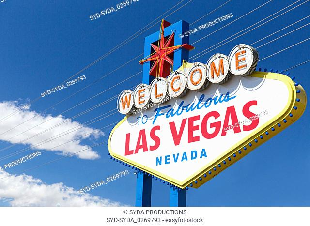 welcome to fabulous las vegas sign over blue sky