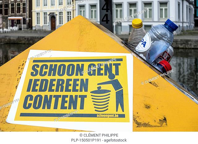 Overfull dustbin with household refuse due to strike by the waste processing firm IVAGO in the city Ghent, Belgium