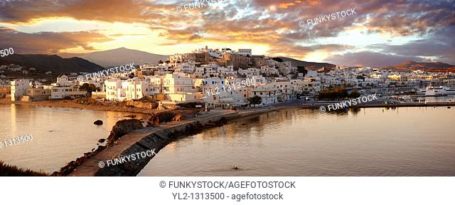 Naxos town Chora at sunset  Greek Cyclades Islands Greece