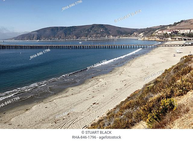 View over beach, Avila Beach, San Luis Obispo County, California, United States of America, North America