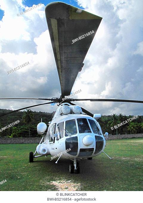 helicopter of the 'United Nations Stabilisation Mission in Haiti' standing on unpaved runway , Haiti, Grande Anse, Jeremie