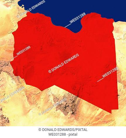 Highlighted satellite image of Libya