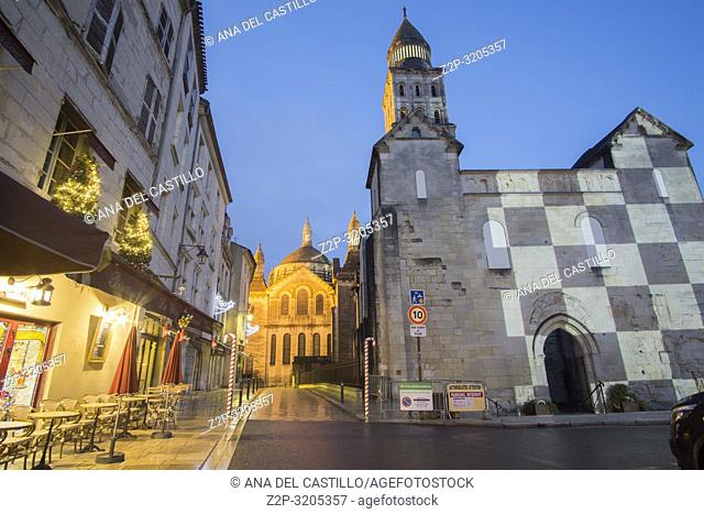 Nightscape in Perigueux, New Aquitaine, Dordogne France on December 7, 2018: Perigueux's wonderful Byzantine cathedral by night