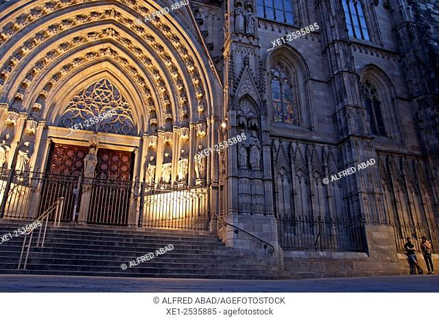Santa Eulalia Cathedral at sunset, Cathedral of Barcelona, Catalonia, Spain
