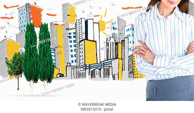 Digital composite of businesswoman standing arms crossed in city