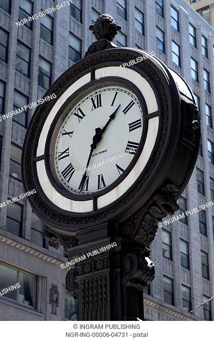 Low angle view of a street clock, Manhattan, New York City, New York State, USA