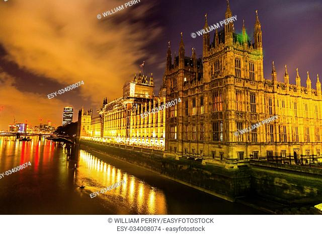 Houses of Parliament Thames River Westminster Bridge Night Westminster London England. Built in the 1800s, House of Commons and House of Lords