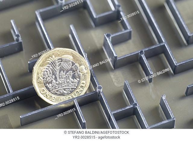 Pound coin in a maze