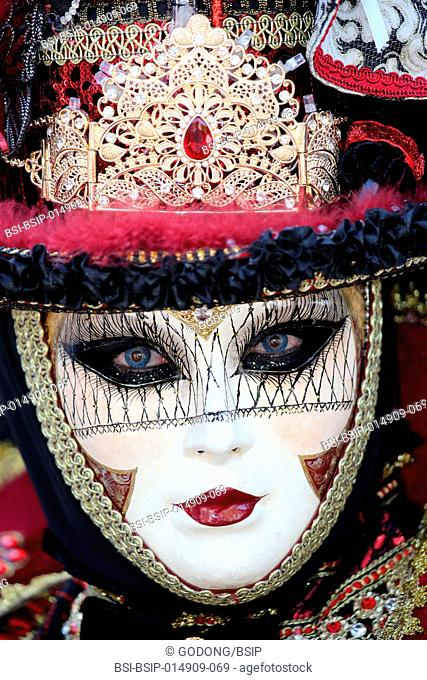 Yvoire, labelled Les Plus Beaux Villages de France (The Most Beautiful Villages of France). The Venitian carnival. Close-up of carnival mask