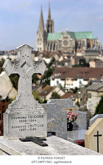 GRAVE OF RAYMOND ISIDORE FOUNDER OF THE MAISON PICASSIETTE IN THE CEMETERY IN FRONT OF THE CHARTRES CATHEDRAL, EURE-ET-LOIR 28, FRANCE