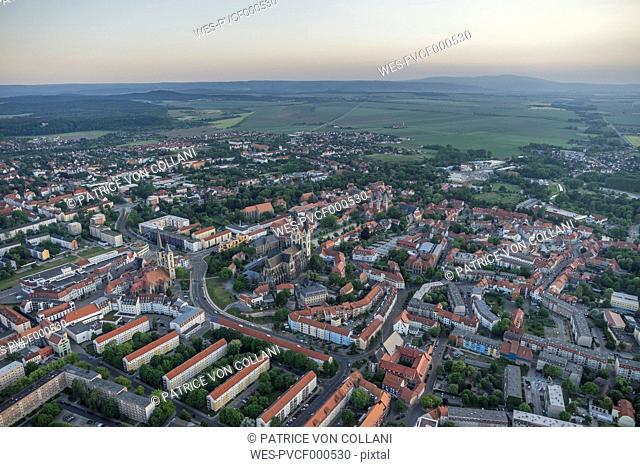 Germany, aerial view of Halberstadt in the evening