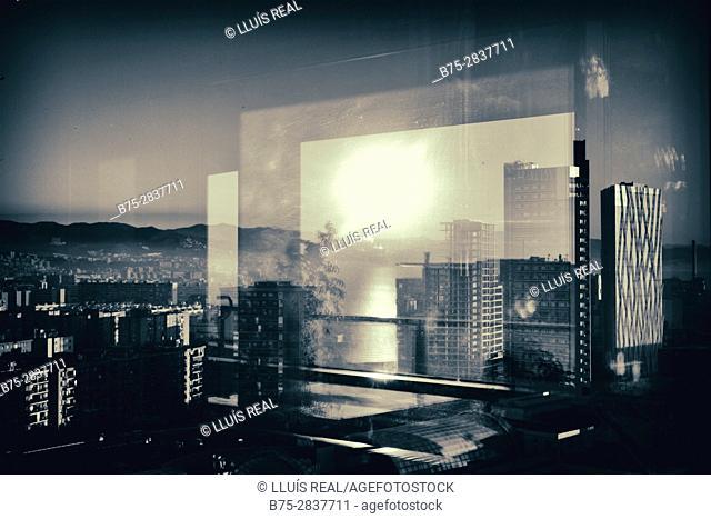 Partial view through window of Diagonal Mar area. Barcelona, Catalonia, Spain