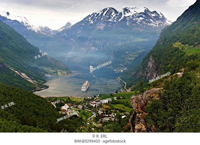 Geirangerfjord and cruise liners, Norway