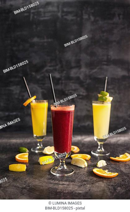 Close up of variety of healthy juices