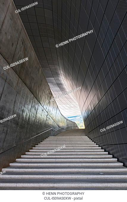 Stairway in the Dongdaemun history and culture park in the east part of Seoul, South Korea